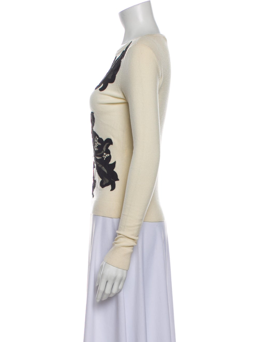 Diane von Furstenberg Merino Wool Lace Pattern Sw… - image 2