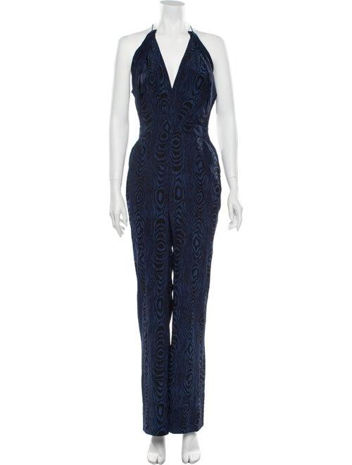 Diane von Furstenberg Silk Printed Jumpsuit Blue