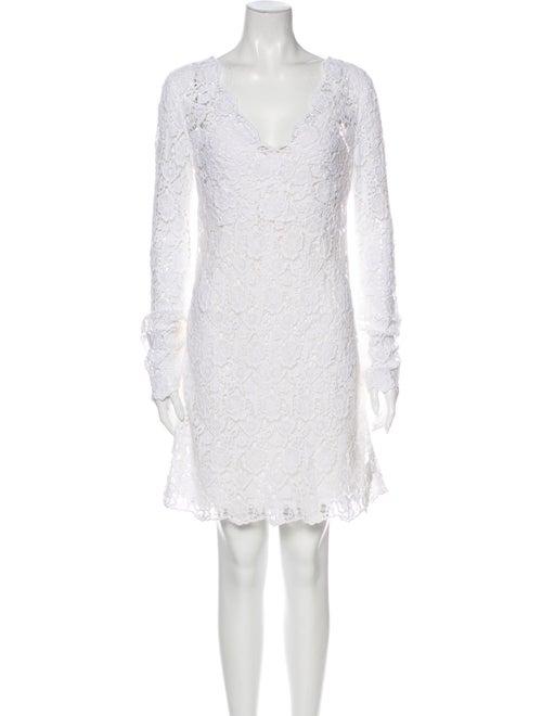 Diane von Furstenberg Lace Pattern Mini Dress Whit