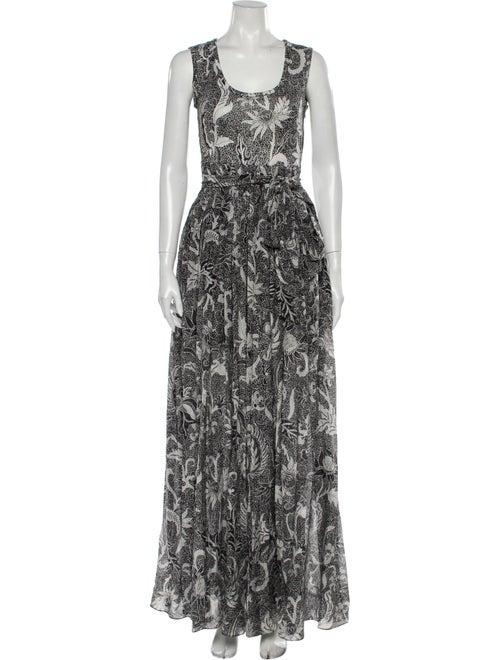 Diane von Furstenberg Printed Long Dress Black