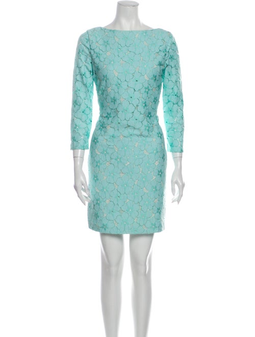Diane von Furstenberg Lace Pattern Mini Dress Gree