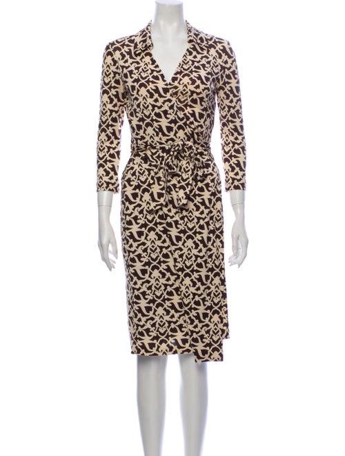 Diane von Furstenberg Silk Midi Length Dress Brown