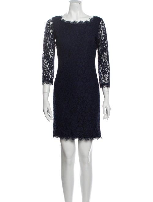 Diane von Furstenberg Lace Pattern Mini Dress Blue