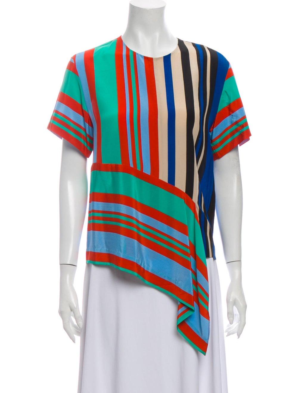 Diane von Furstenberg Silk Striped T-Shirt Green - image 1