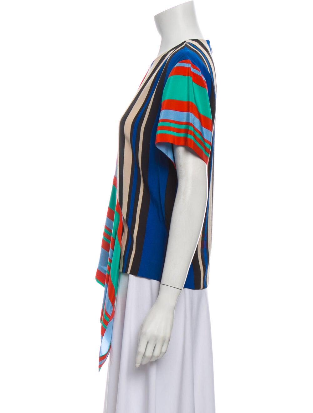 Diane von Furstenberg Silk Striped T-Shirt Green - image 2