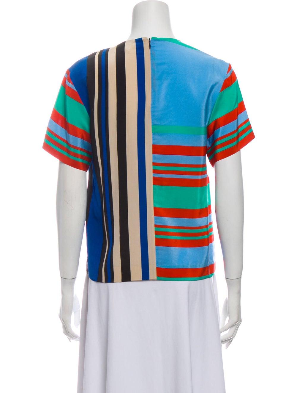 Diane von Furstenberg Silk Striped T-Shirt Green - image 3