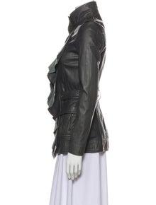 Diane von Furstenberg Leather Printed Utility Jacket