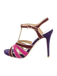 Diane von Furstenberg Suede Cutout Accent T-Strap Sandals