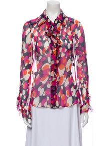 Diane von Furstenberg Silk Floral Print Blouse