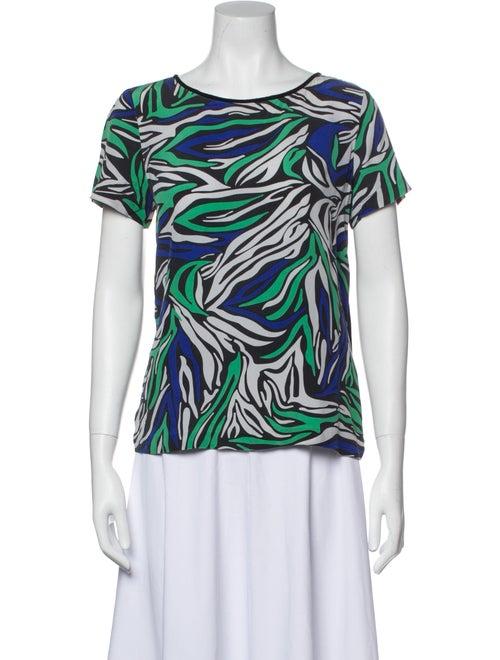 Diane von Furstenberg Ora Silk T-Shirt Green - image 1