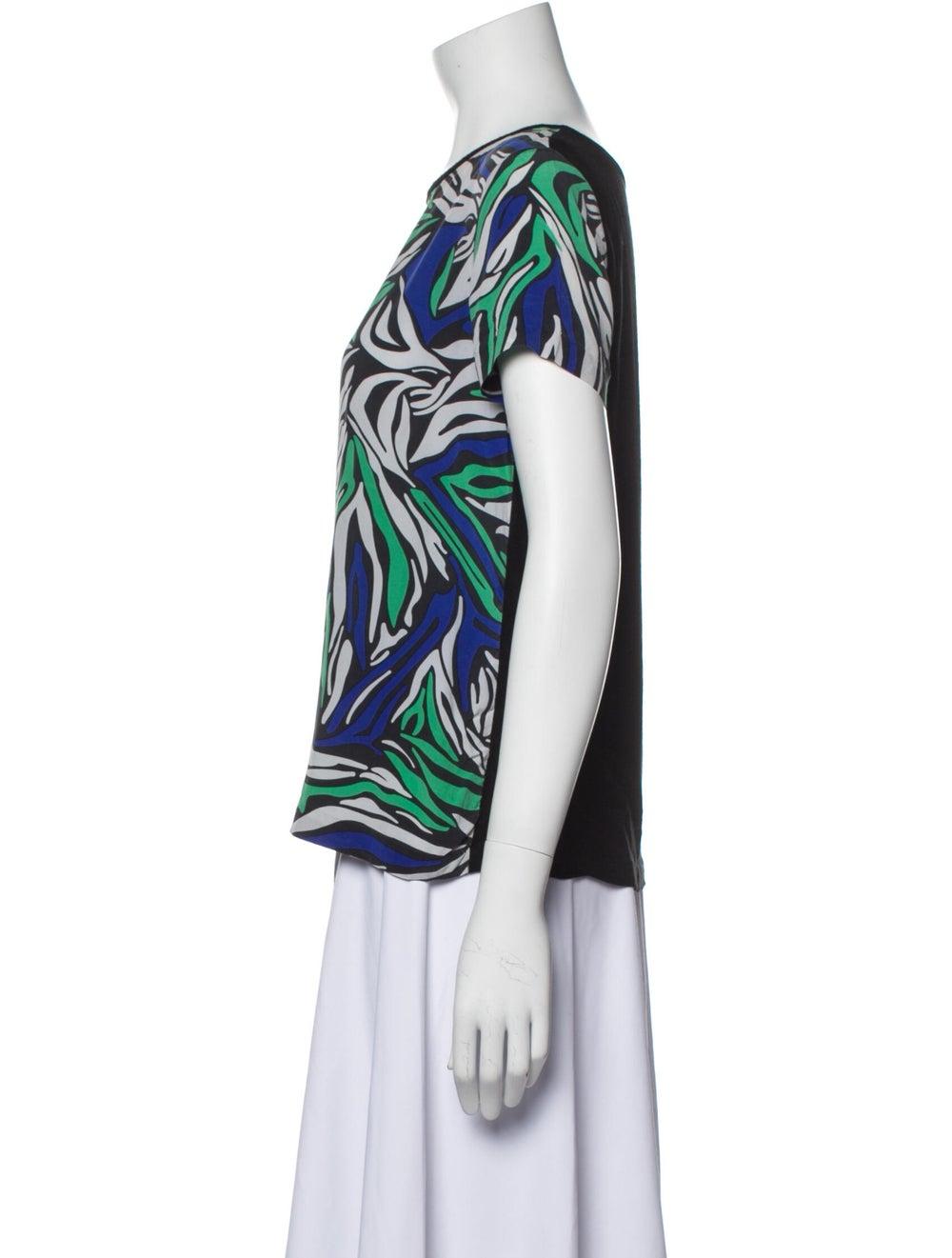 Diane von Furstenberg Ora Silk T-Shirt Green - image 2