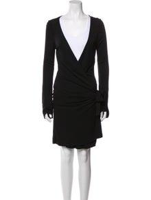 Diane von Furstenberg Plunge Neckline Mini Dress