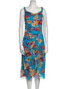 Diane von Furstenberg Printed Midi Length Dress