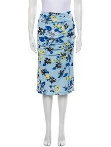 Diane von Furstenberg Floral Print Knee-Length Skirt w/ Tags