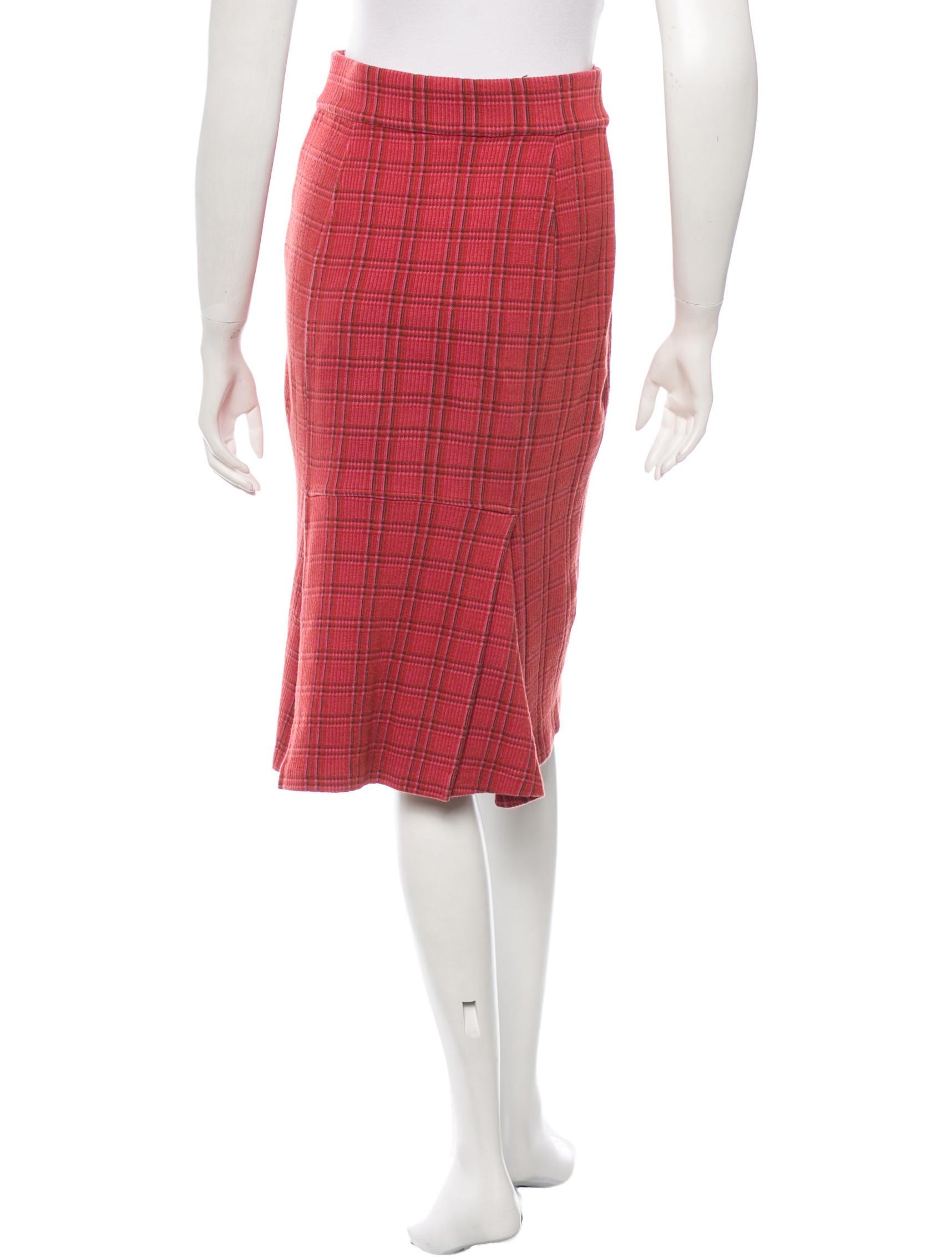 diane furstenberg plaid knee length skirt clothing