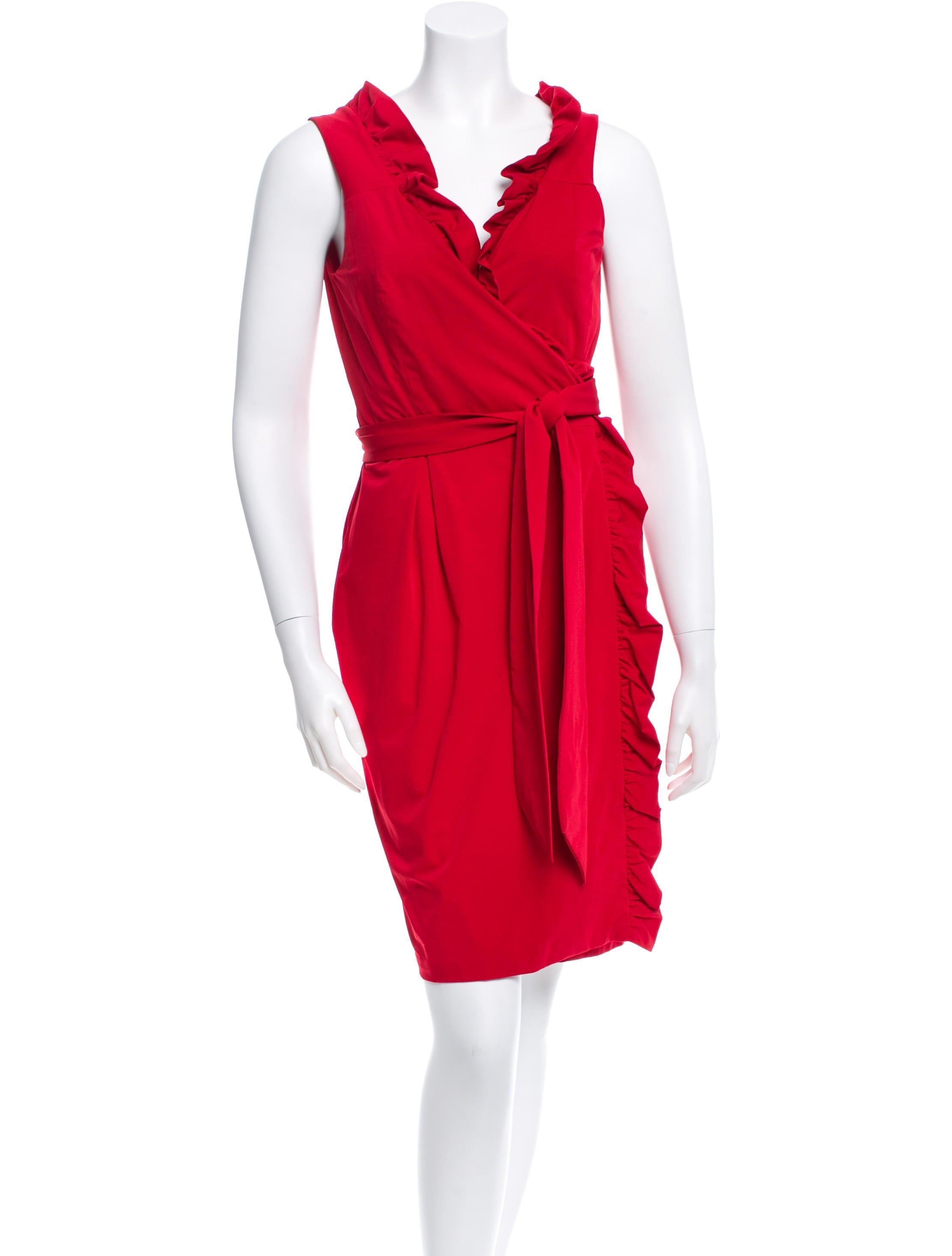 Diane von furstenberg ruffle accented wrap dress for Diane von furstenberg clothing