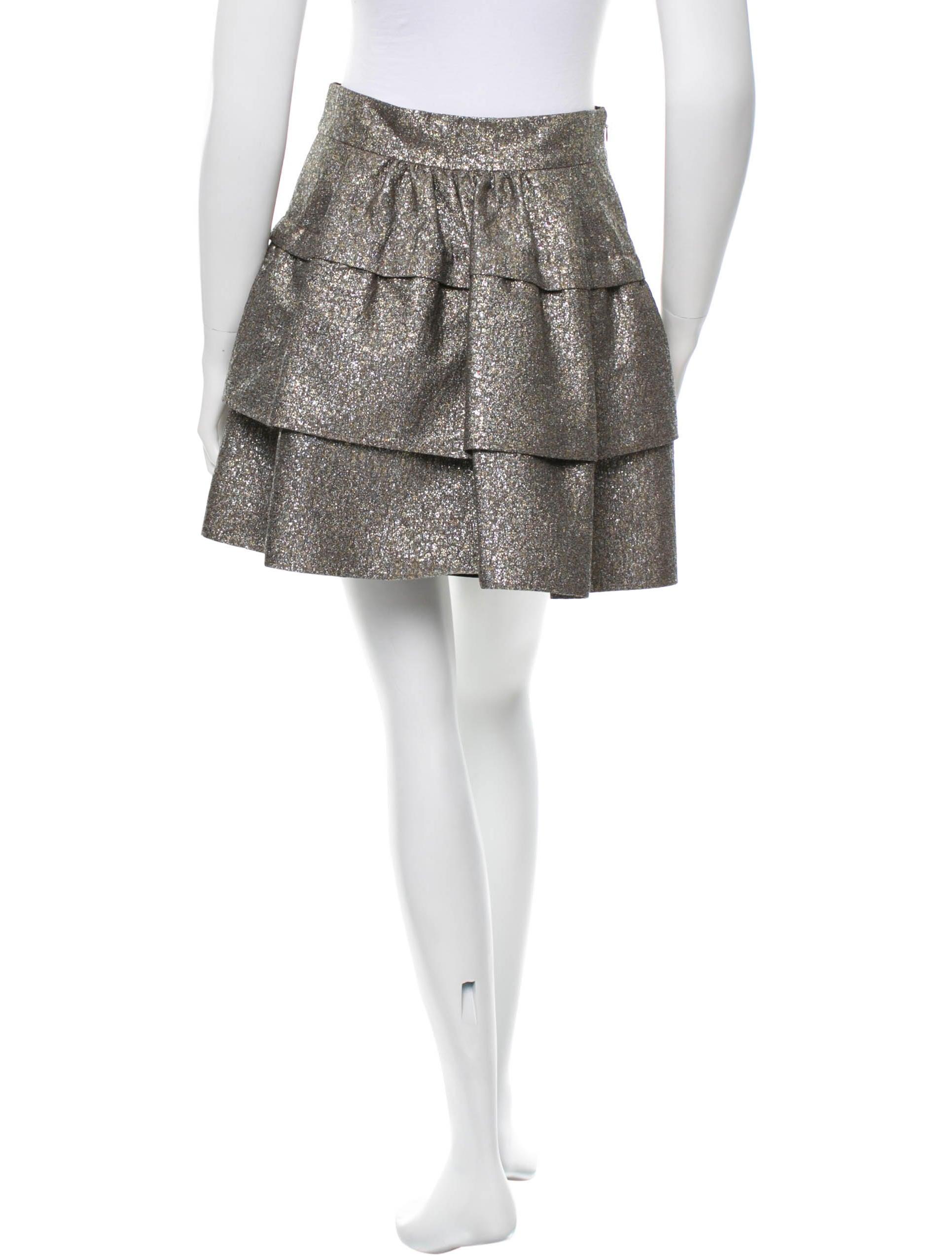 diane furstenberg metallic a line skirt clothing
