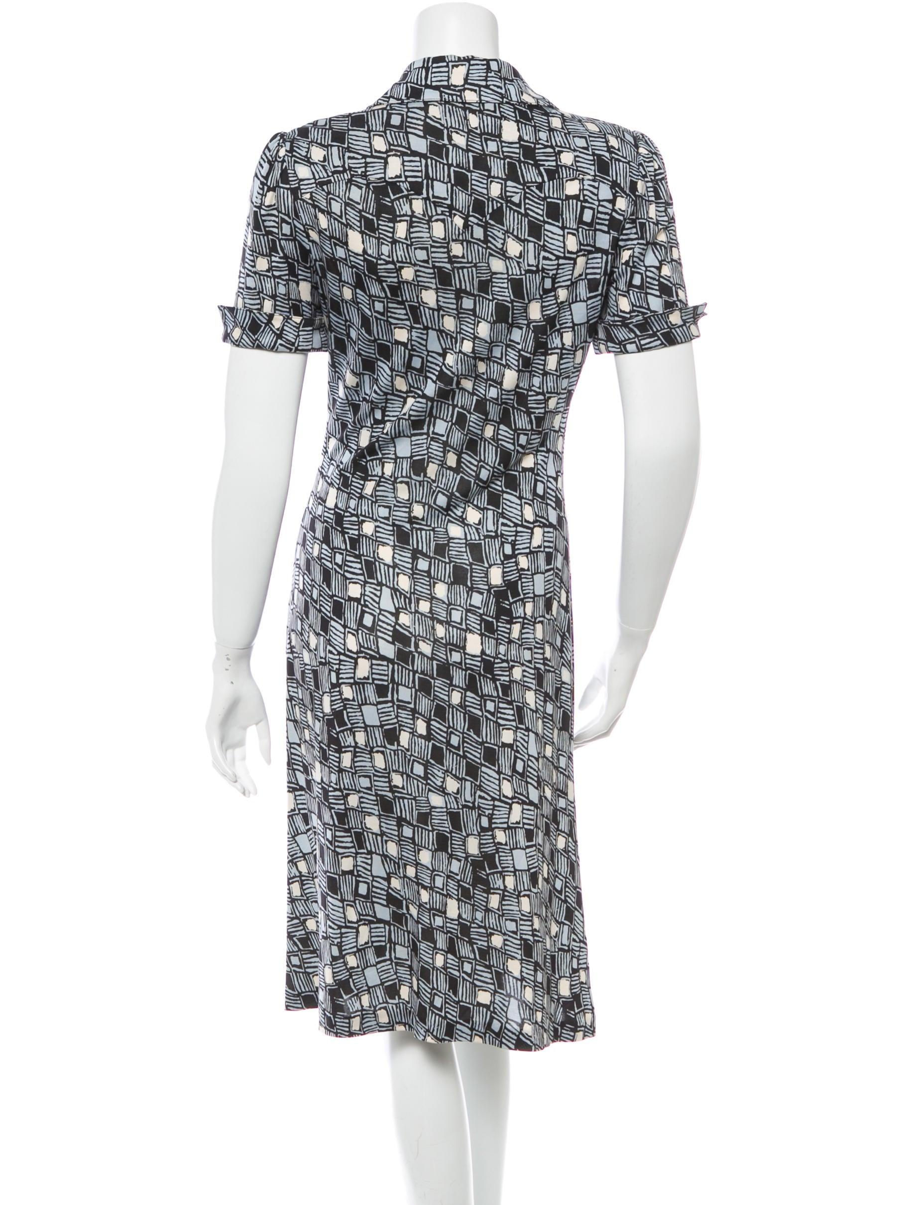 Diane von furstenberg silk printed shirt dress clothing for Diane von furstenberg shirt