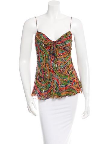 Diane von Furstenberg Embellished Silk Top None