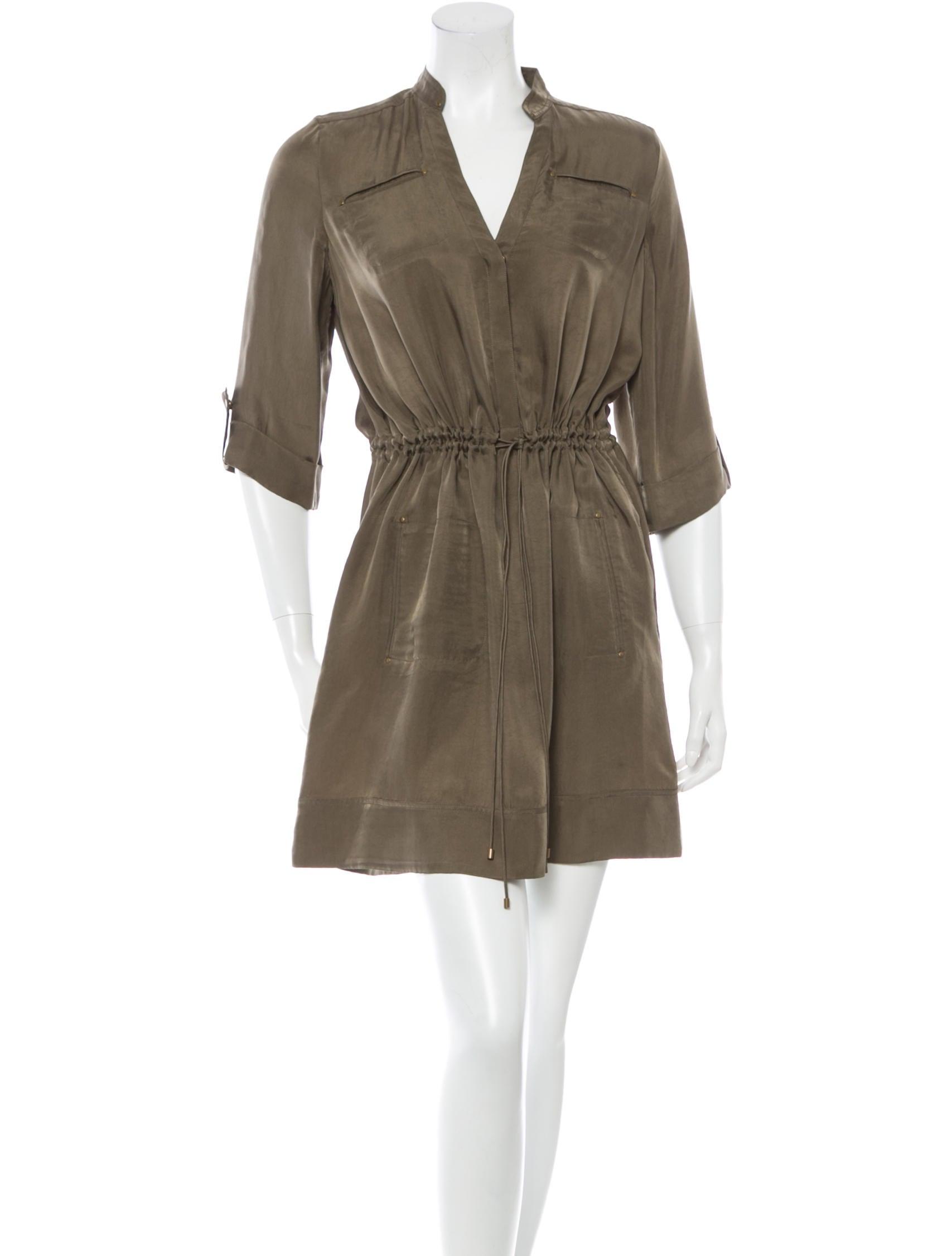 Diane von furstenberg silk long sleeve dress clothing for Long sleeve silk shirt dress