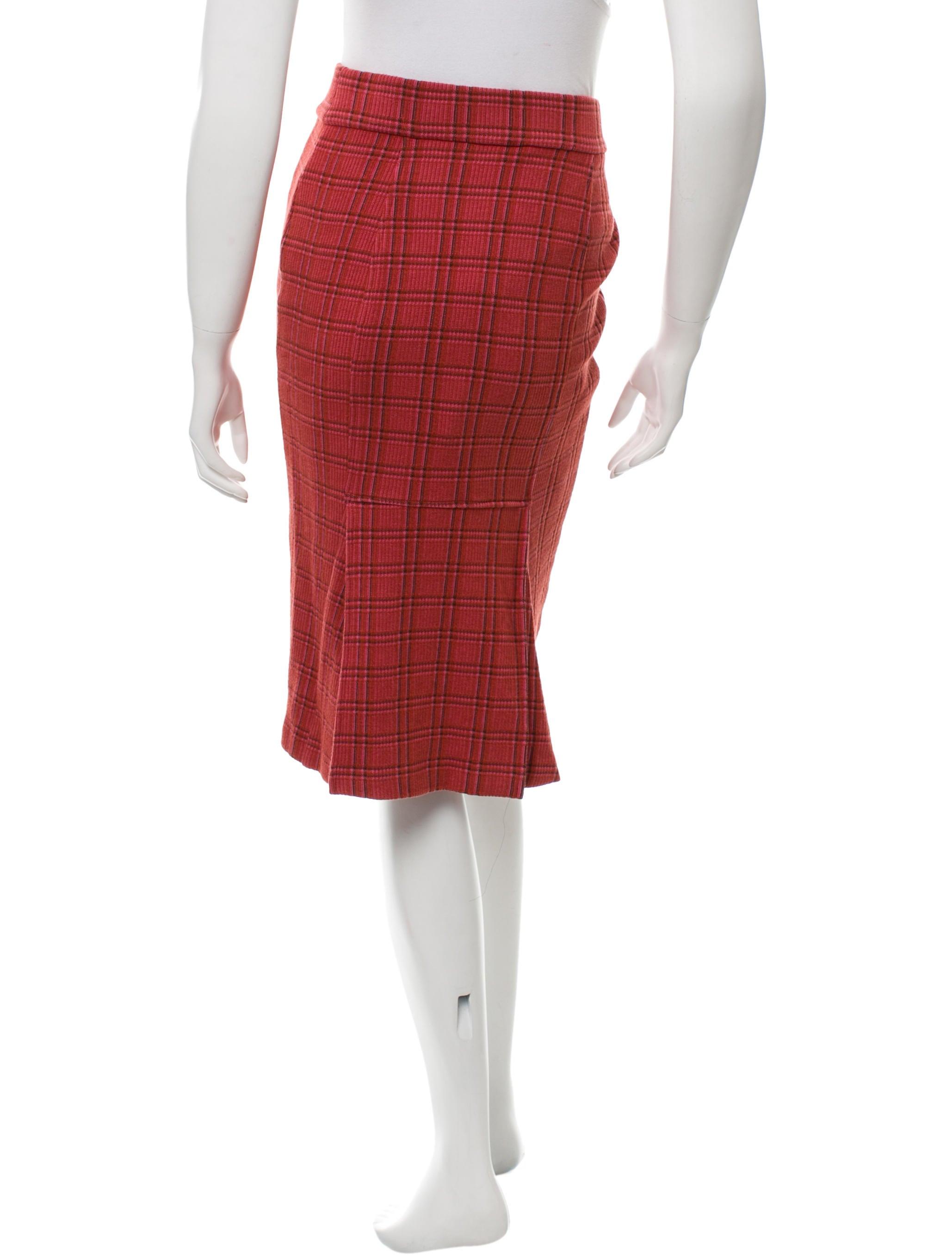 diane furstenberg plaid patterned knee length skirt w