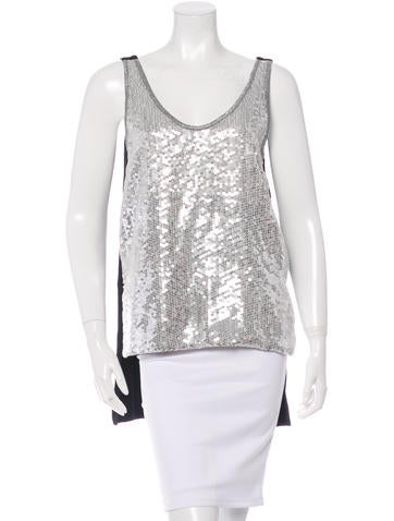 Diane von Furstenberg Sleeveless Sequined Top None