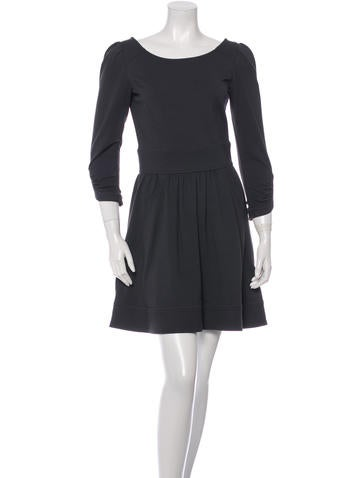 Diane von Furstenberg Three-Quarter Sleeve Scoop-Neck Dress None