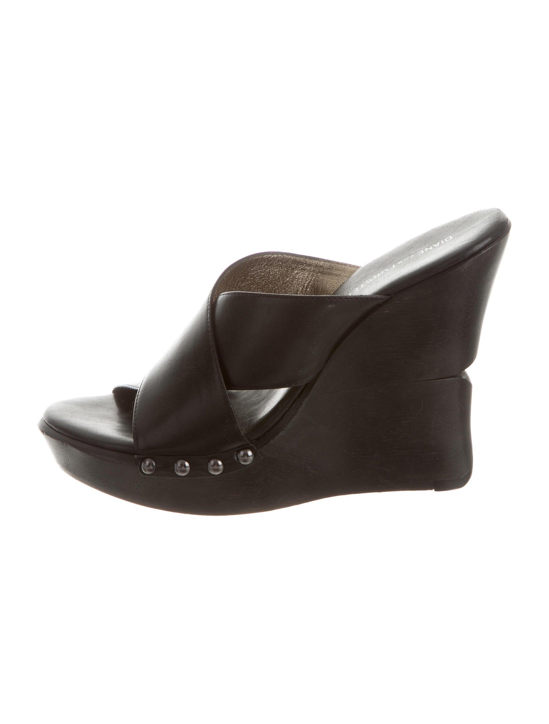 diane furstenberg leather slide wedges shoes