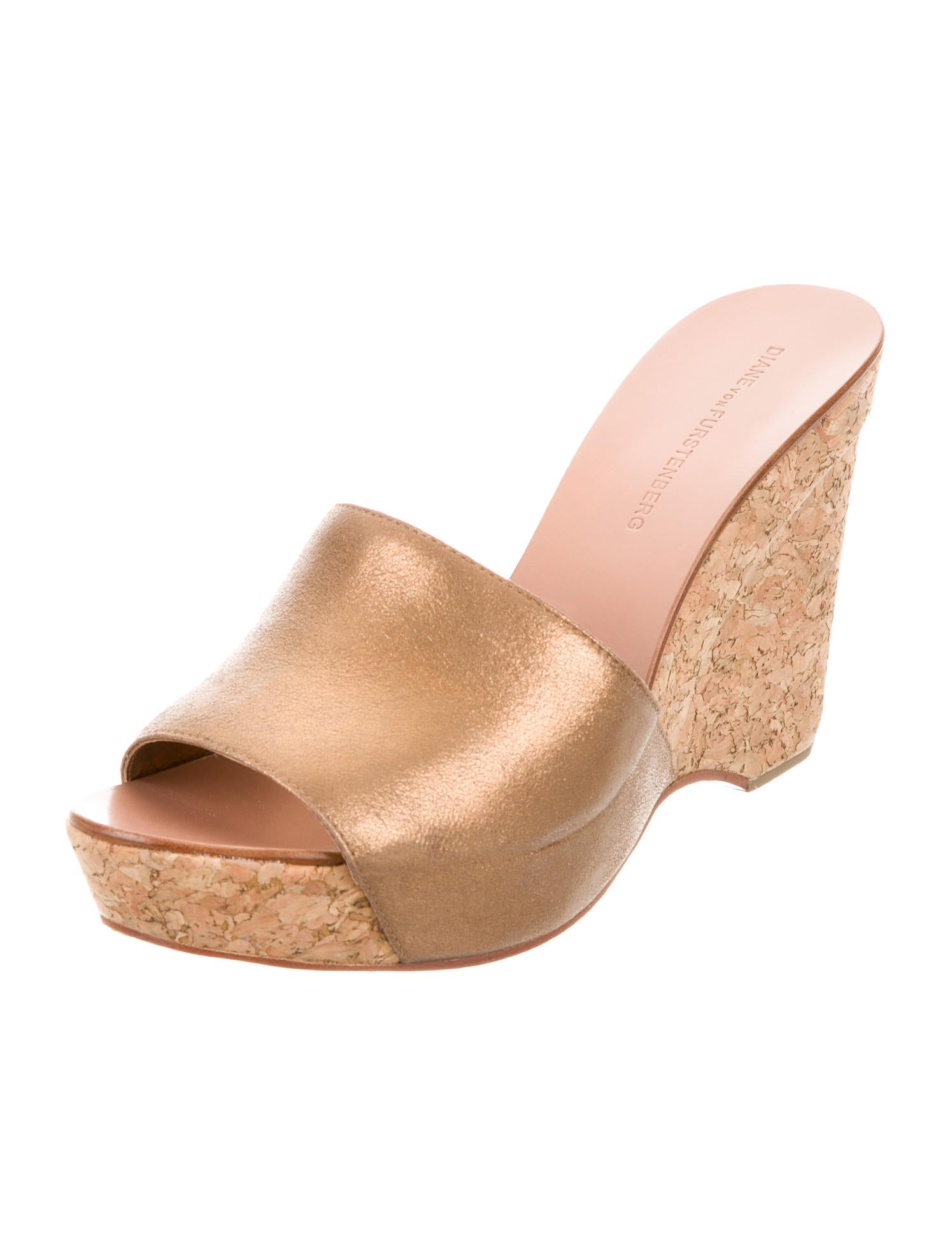 diane furstenberg metallic cork slide wedges shoes