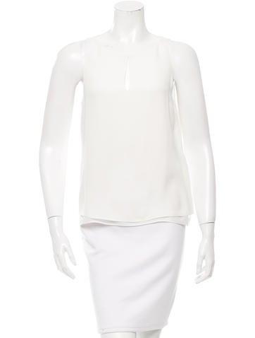 Diane von Furstenberg Silk Slit-Accented Top None
