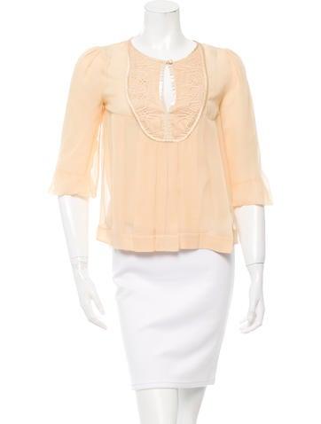 Diane von Furstenberg Silk Paneled Top None