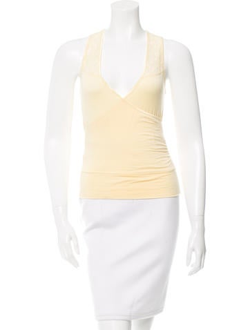 Diane von Furstenberg Sleeveless Lace-Accented Top None