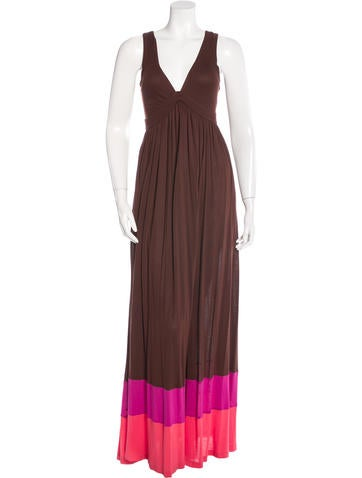 Diane von Furstenberg Colorblock Maxi Dress None