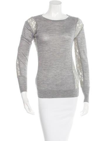 Diane von Furstenberg Lace-Accented Wool Sweater None