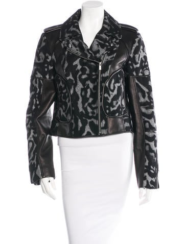 Diane von Furstenberg Leather-Trimmed Moto Jacket w/ Tags