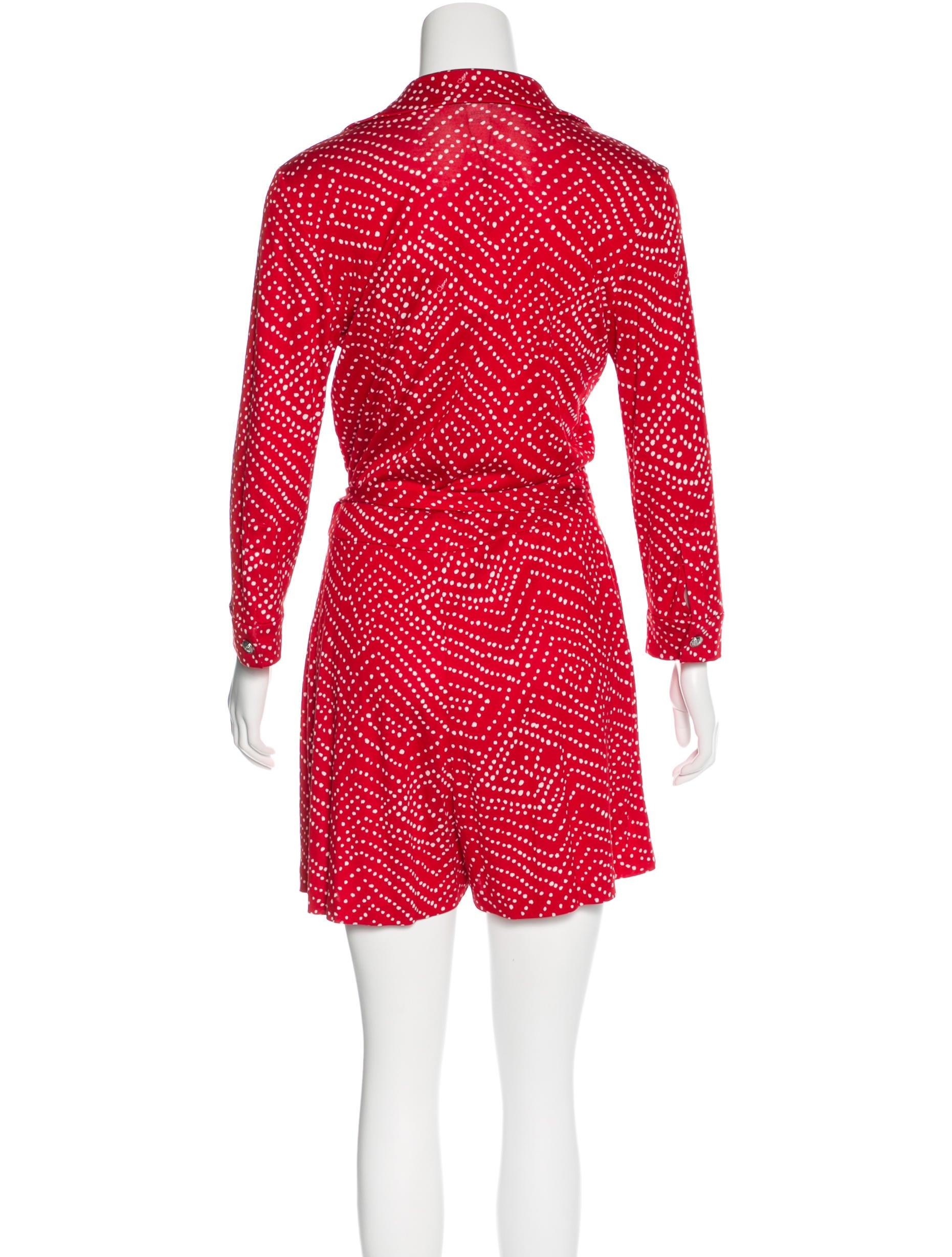 Diane von Furstenberg Polka Dot Wrap Romper w/ Tags - Clothing - WDI81020 | The RealReal