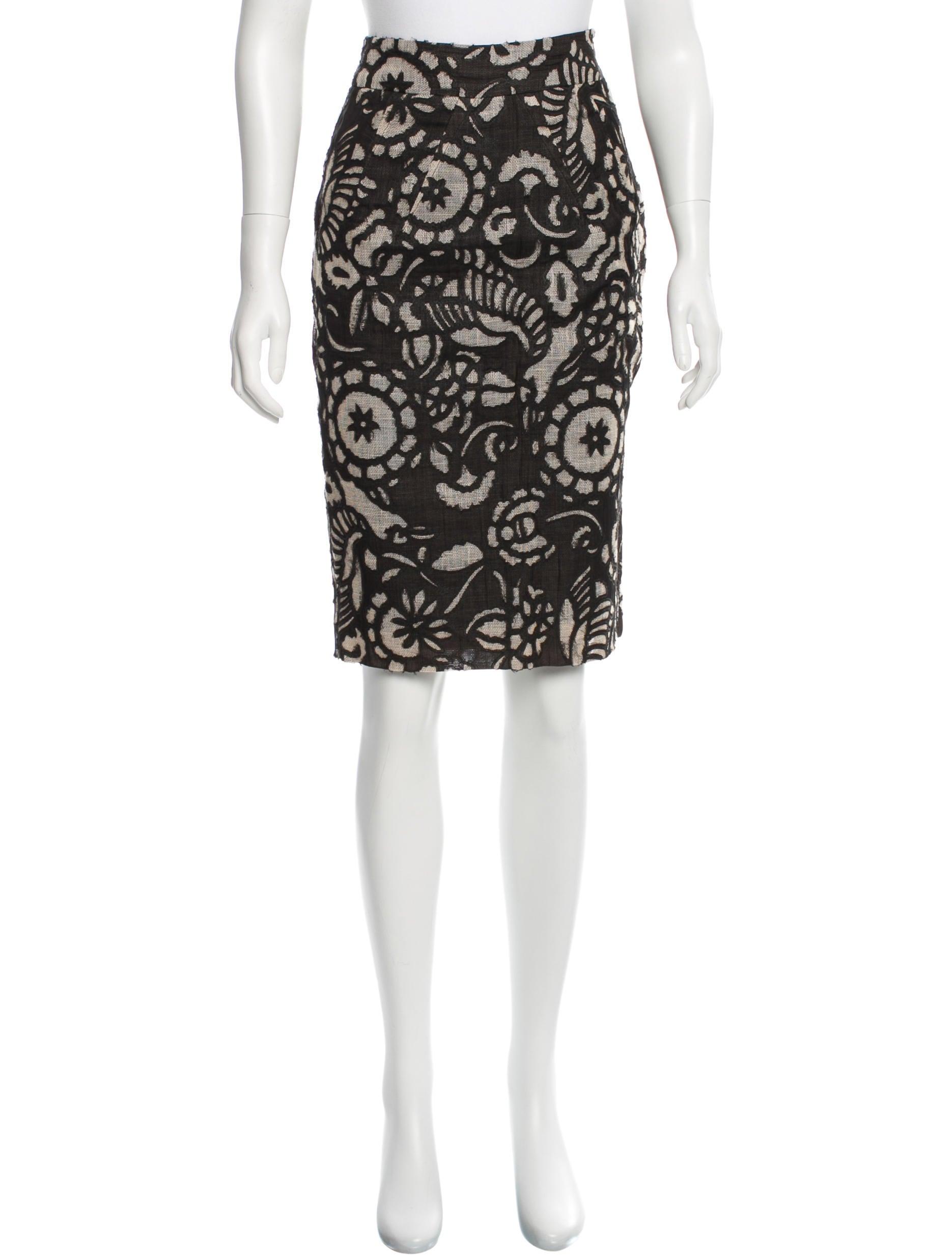 diane furstenberg linen knee length skirt clothing