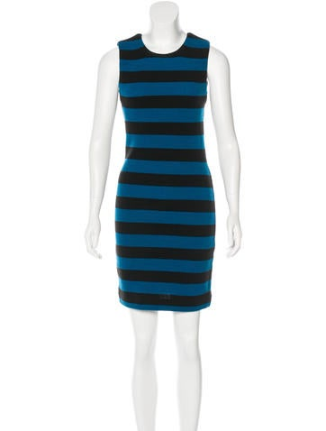 Diane von Furstenberg Rib Knit Striped Dress None