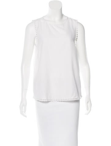 Diane von Furstenberg Lace-Accented Sleeveless Top None
