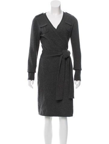 Diane von Furstenberg Wool Wrap Dress None