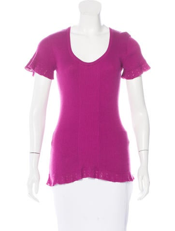 Diane von Furstenberg Short Sleeve Rib Knit Top None