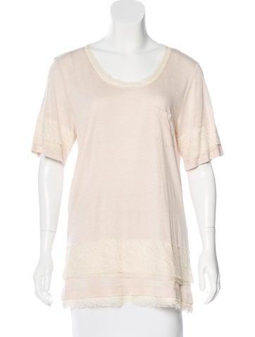 Diane von Furstenberg Lace-Accented T-Shirt None