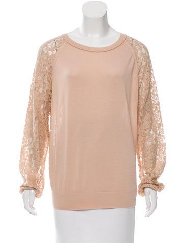 Diane von Furstenberg Lace-Accented Long Sleeve Top None