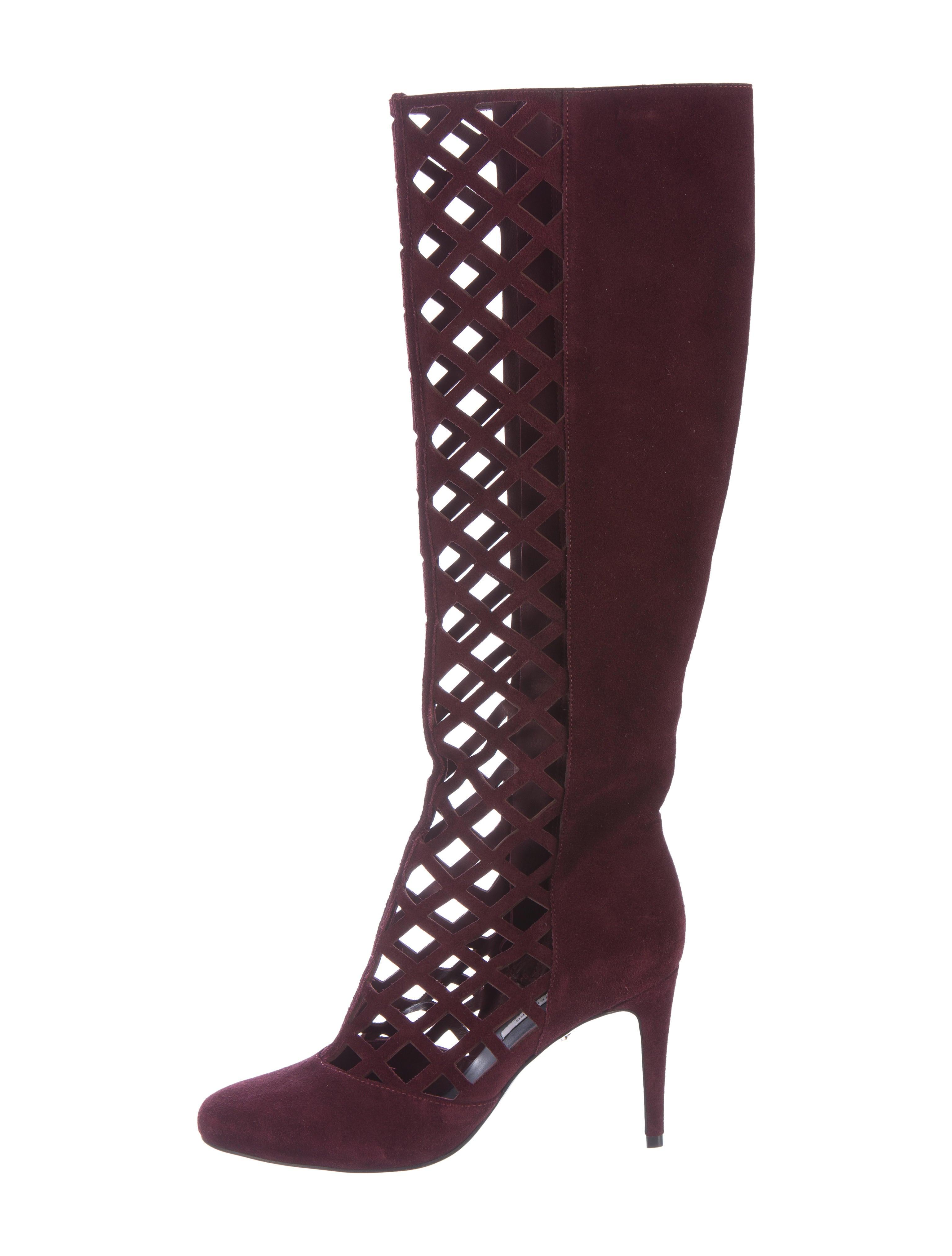 diane furstenberg suede cutout boots shoes