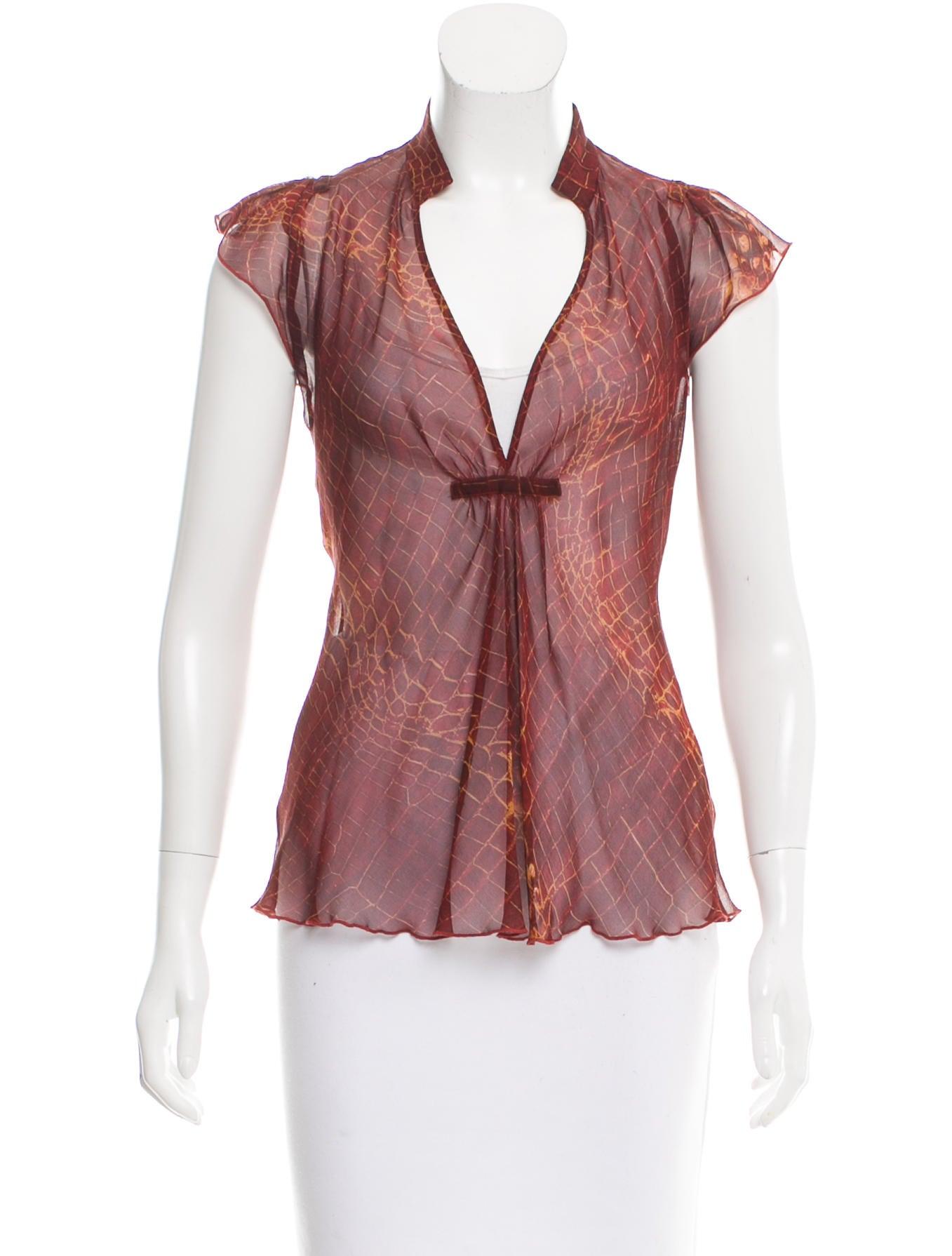 Diane von furstenberg silk sheer top clothing wdi92169 for Diane von furstenberg shirt