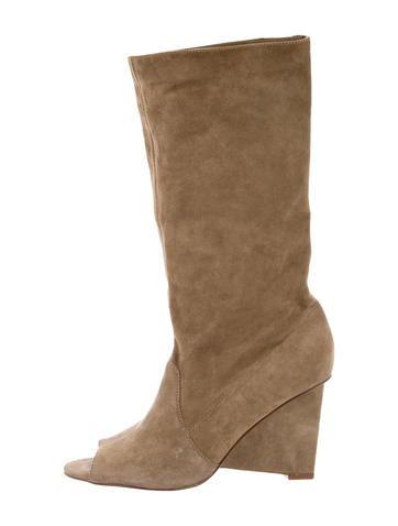 diane furstenberg suede peep toe boots shoes