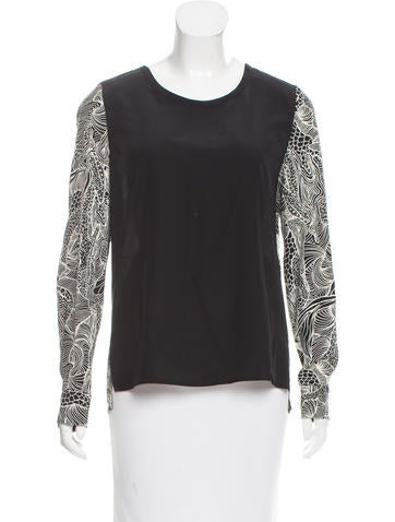 Diane von Furstenberg Silk Long Sleeve Top None