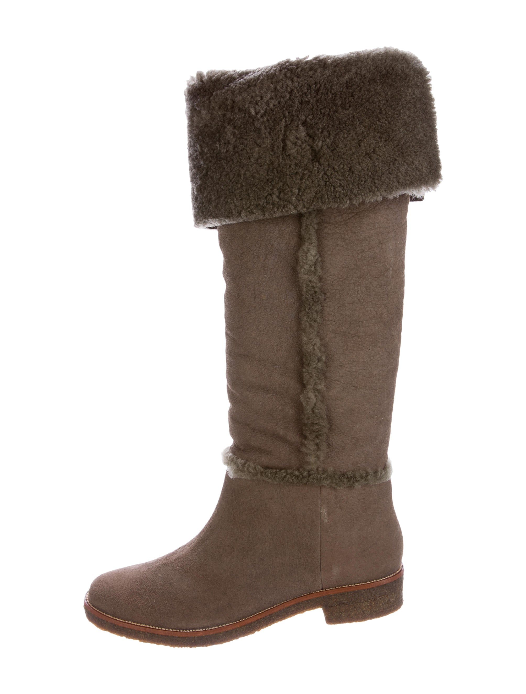 diane furstenberg shearling knee high boots shoes