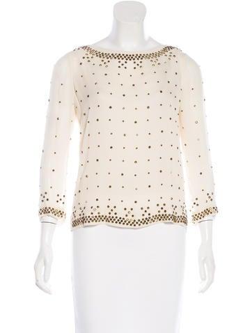 Diane von Furstenberg Silk Embellished Top None