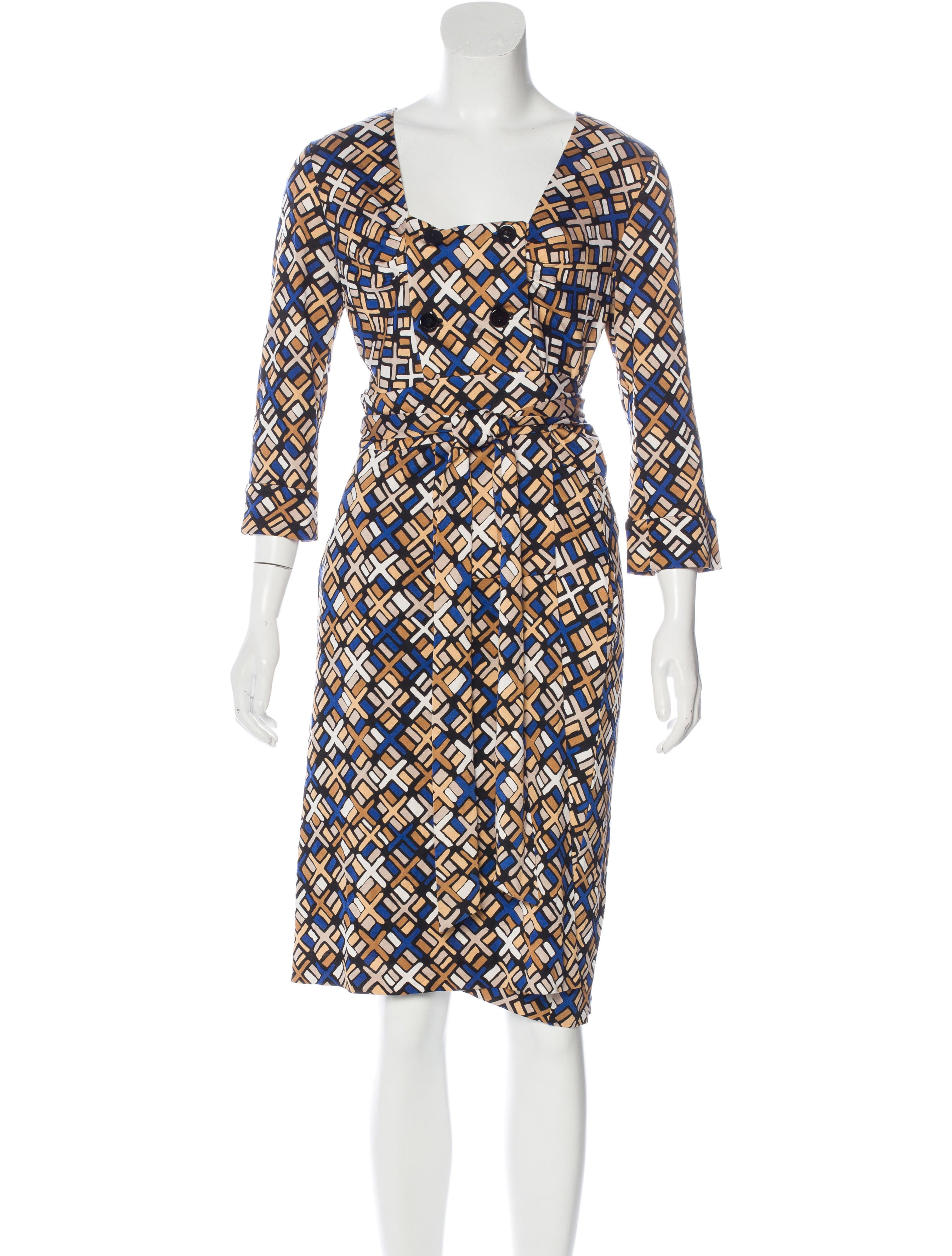 Diane Von Furstenberg Abstract Print Silk Dress Clothing